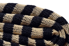 Stack of striped knitted fabric Stock Photo