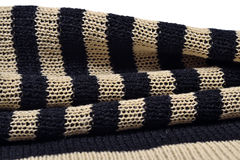 Stack of striped knitted fabric Stock Image