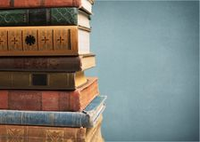 Stack. Studying literature closeup table print brown stock photo