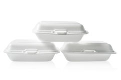 Stack of Styrofoam takeaway boxes on white background: Clipping path included Royalty Free Stock Photography