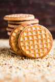 Stack of sugar cookies on chopped nuts Royalty Free Stock Photos