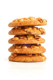Stack of sugar cookies with peanuts Stock Photo
