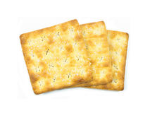 Stack of sugar crackers isolated on the white background. food s Royalty Free Stock Photography