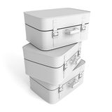 Stack of suitcases on white background Royalty Free Stock Image