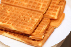 Stack of sweet belgian waffles on plate Stock Image