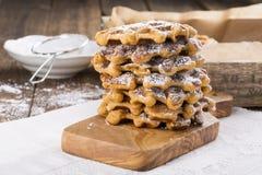 Stack of sweet potato waffles royalty free stock photos