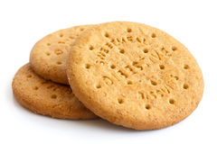 Stack of sweetmeal digestive biscuits isolated on white. Royalty Free Stock Photos