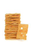 Stack swiss cheese cracker Royalty Free Stock Image
