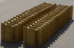 Stack of tables on Brighton seafront. England Stock Images
