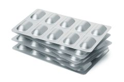 Stack of  tablets blister packs Royalty Free Stock Image