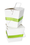 Stack of  Takeaway Food Boxes. On White Background Stock Photo