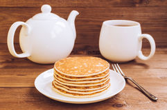 Stack of tasty pancakes on the plate for breakfast Royalty Free Stock Photo