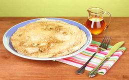 Stack of tasty pancakes on wooden Stock Photography