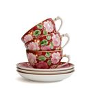 Stack of tea cups with saucers Royalty Free Stock Image