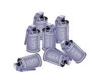 Stack of Tear Gas Grenades on White Background Stock Photography