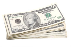Stack of ten dollar banknotes Stock Photos