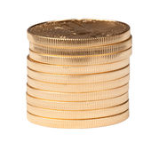 Stack of ten pure gold coins. Vertical stack of ten gold coins isolated from background stock images
