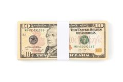Stack of ten US dollar bills isolated on white background. Dollar money banknotes Royalty Free Stock Image