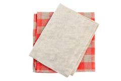 Stack of teo folded textile napkins on white Stock Image