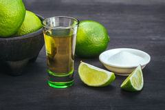 Stack of tequila with lime and salt. Stock Image
