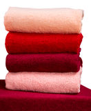 Stack of terry towels isolated on white background Royalty Free Stock Photography
