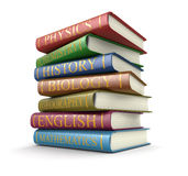 Stack of textbooks (clipping path included). Stack of textbooks. Image with clipping path Stock Photo