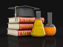Stack of textbooks and flasks Royalty Free Stock Image