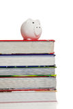 Stack of textbooks with a piggy bank on white Royalty Free Stock Photo