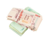 Stack of Thai money on white background Stock Images