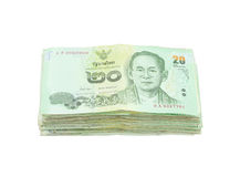Stack of Thai money on white background Royalty Free Stock Photography