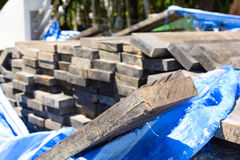 stack thick plank for bridge construction with wood hard outdoor Royalty Free Stock Photos