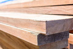 stack thick plank for bridge construction with wood hard outdoor Royalty Free Stock Image