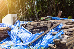 stack thick plank for bridge construction with wood hard outdoor Royalty Free Stock Images