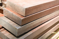 stack thick plank for bridge construction with wood hard outdoor Stock Image