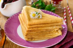 Stack of thin crepes for breakfast Royalty Free Stock Photo