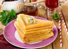 Stack of thin crepes for breakfast Royalty Free Stock Photography
