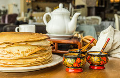 stack of thin pancakes Royalty Free Stock Images