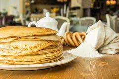 stack of thin pancakes Stock Image