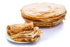 Stack of thin pancakes Royalty Free Stock Photos