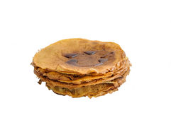 Stack of thin pancakes isolated on white background Stock Image