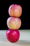 Stack of three apples Stock Image
