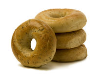 Stack of Three Bagels with One Leaning on the Side Stock Photo