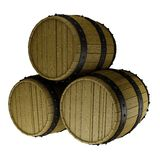 A stack of three barrels. Illustration of a stack of three wine barrels. Isolated on white background Stock Images