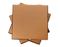 Brown pizza boxes, stack, isolated, copy space Royalty Free Stock Photo