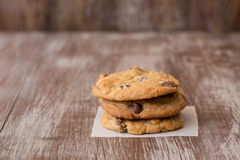 Stack of three chocolate chip cookies Royalty Free Stock Image