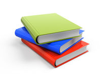 Stack of three colorful books. On white background - 3d render Stock Photography