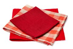 Stack of three colorful napkins on white Royalty Free Stock Photos