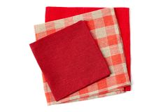 Stack of three colorful napkins on white Stock Photos