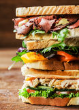 Stack of three delicious toasted sandwiches. With different fillings including rare roast beef,shredded chicken breast and pepper and cheese all garnished with Stock Photography