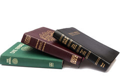 Stack of three Holy Bibles Stock Images